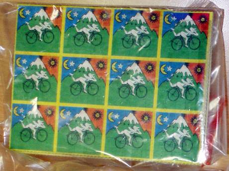 Doses of LSD, in the form of stamps, seized by French Customs authorities in 2008