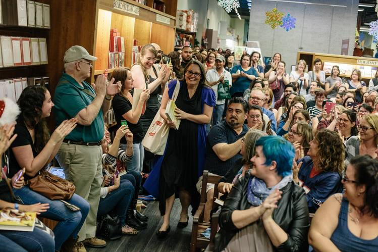 Author Jenny Lawson, with tote bag, Sunday among fans at Vroman's Bookstore in Pasadena, Calif.