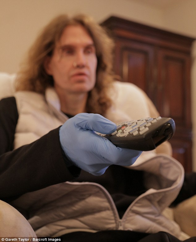 The actor wears latex gloves around the house as he has a fear of contamination