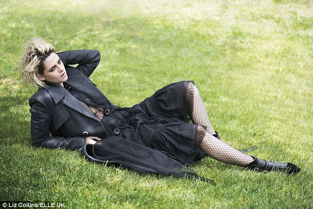Laid back: The actress, who was dressed in black from top-to-toe for this Elle fashion shot, also revealed that she was fighting chronic OCD at the time
