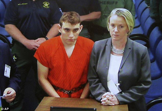 Nikolas Cruz is pictured above in court on Thursday in Broward County