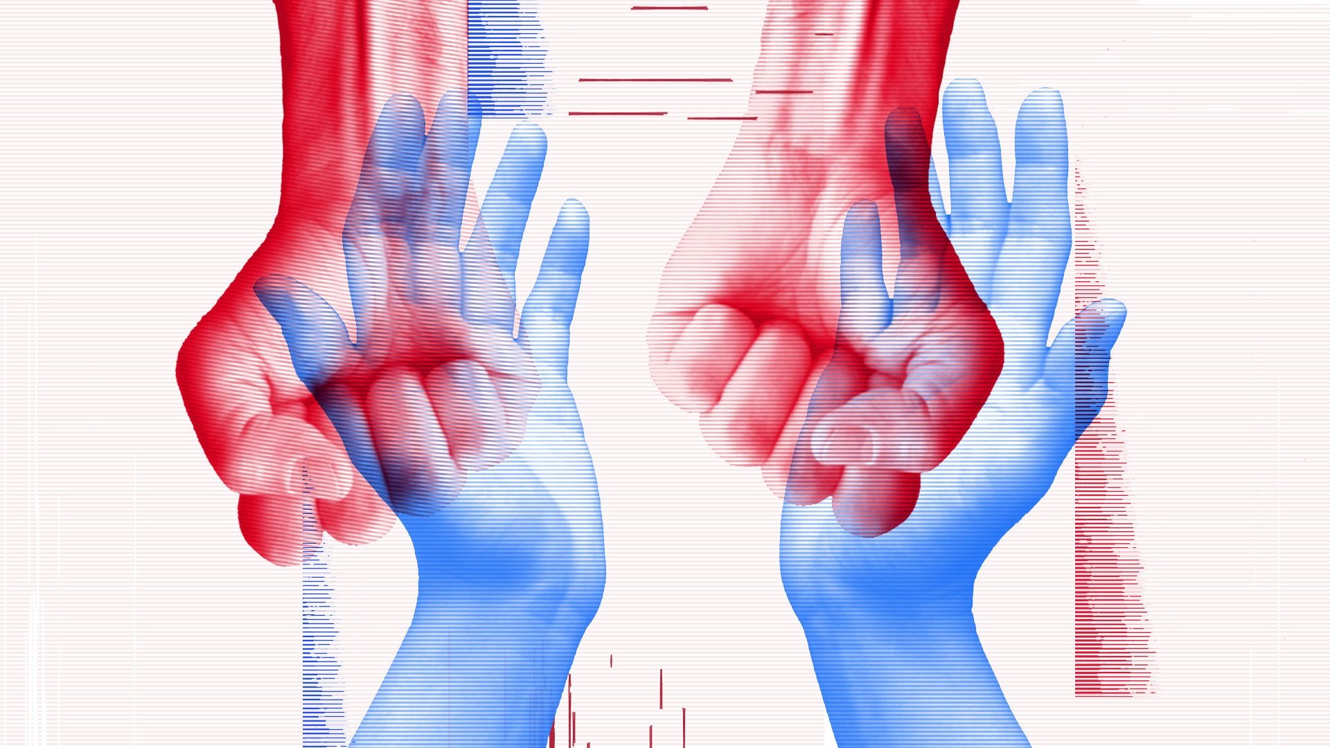 An illustration of open hands overlaid on closed fists