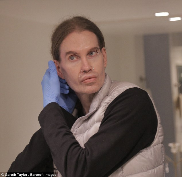 Stephen Forde at home in Marina Del Rey, LA. The actor suffers from OCD and constantly wears latex gloves to protect himself from germs