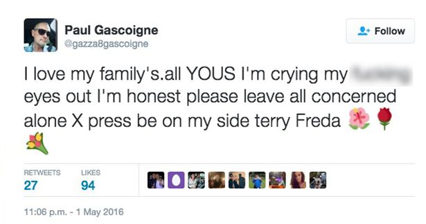 Paul Gascoigne tweet after nephew Jay Kerrigan found dead