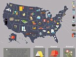 The list and map shows in detail what types of products are most popular on eBay for each state