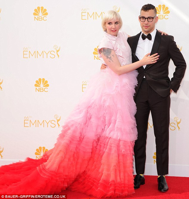 Romantic relationship: Lena is shown with boyfriend Jack Antonoff at the Emmys on Monday night