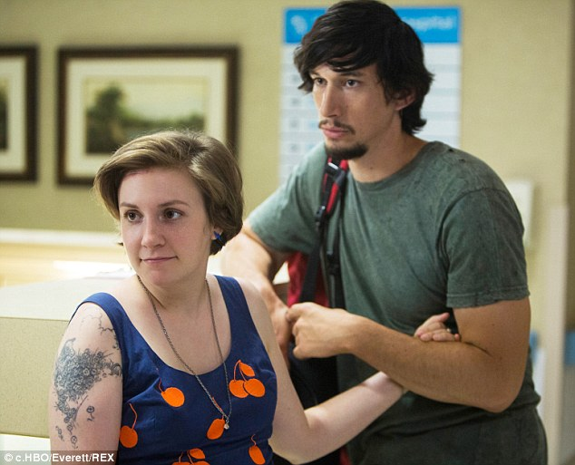 Critically acclaimed: Lena, shown with Adam Driver in a February scene from Girls, has received eight Emmy nominations for Girls as a writer, director, actress and producer