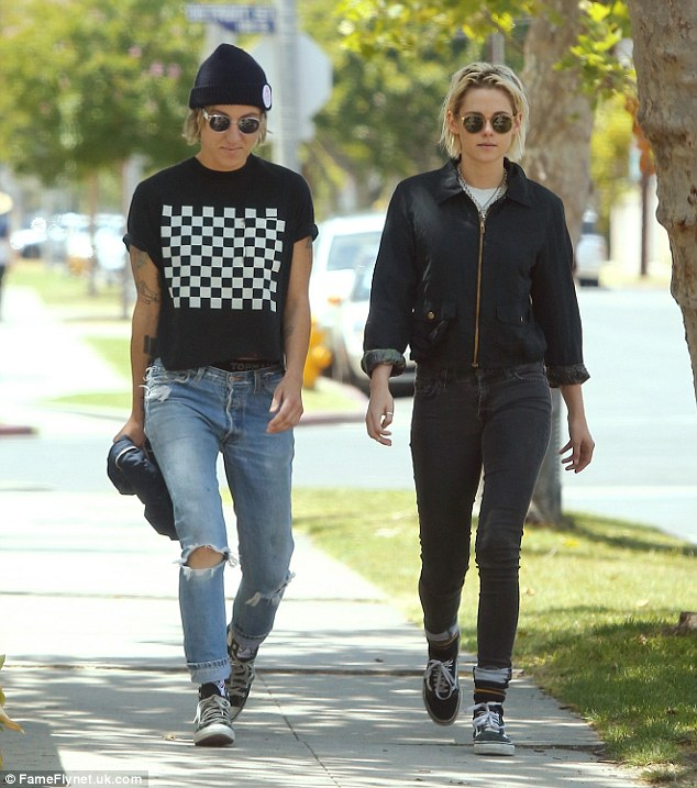 Enjoying life: The Cafe Society star and Alicia Cargile were spotted out in Los Angeles in May. Kristen dished, 'Right now I'm just really in love with my girlfriend'