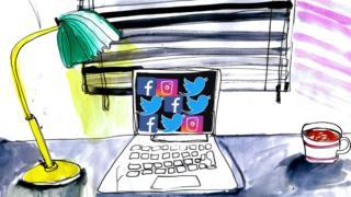 Illustration of a desk and laptop showing social media sites