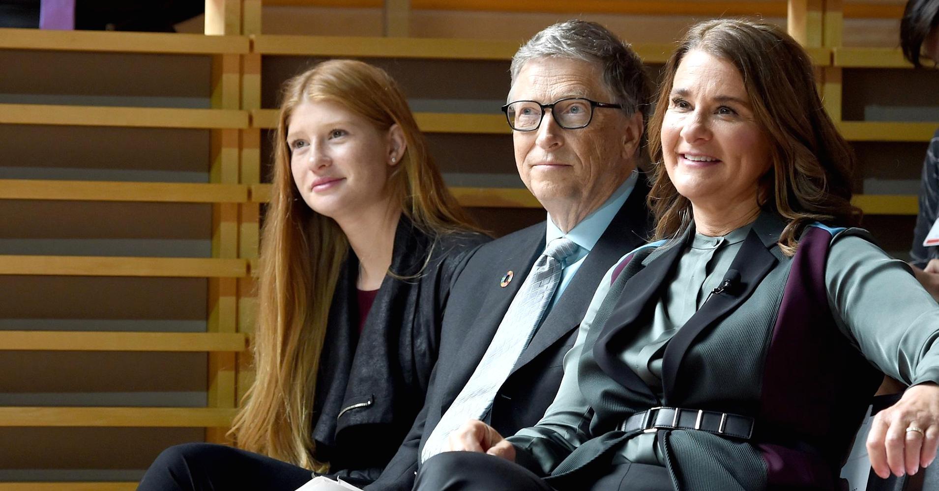 Phoebe Adele Gates, Bill Gates, and Melinda Gates attend the Goalkeepers 2017.
