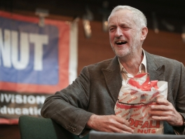 Jeremy Corbyn, reacts as he attends an anti-racism conference in central London on October 8, 2016.